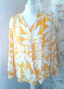 M&S Yellow and White Hawaiian Palm Leaf Floral Blouse Top Summer Holiday 10/12