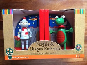 Knight & Dragon Hand-crafted Wooden Bookends (Orange Tree Toys)