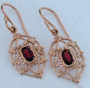 E069 Genuine 9ct Solid Rose Gold NATURAL Rhodolite Drop Earrings Filigree Dangle