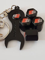 AUDI S LINE BLACK DUST VALVE CAPS AND SPANNER ALL MODELS RETAIL PACKED RS TT