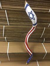 """Extra Large 40-42"""" Hand Painted Polished  Kudu Shofar Flag Israel &Us Free Shipp"""