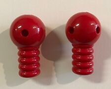 Plastic Tinker Toys Parts Lot: 2 Red Robot Arms Replacement Pieces for Jumbo Set