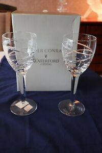 "2 Waterford Crystal ""Aura"" Wine Glasses by Jasper Conran + Box Super Cond 23cm"