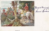 Fairy Tale. Sleeping Beauty The prince arriving at castle  1899 PC