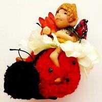 OOAK Fairy LADY BUG Fantasy Art Hand Sculpted Elf Pixie Woodland