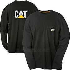 Caterpillar T shirt Men CAT Long Sleeve Logo Pocket Tee T- Shirts Cotton Colors