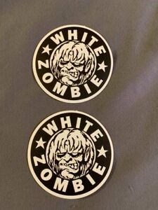 """Lot of 2 WHITE ZOMBIE 2 1/2"""" x 2 1/2"""" Band Logo Stickers FAST! FREE SHIP! Rob"""
