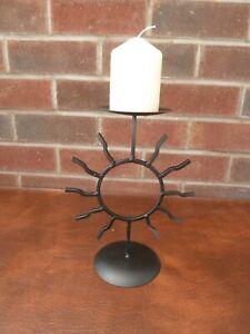 Vintage / Retro  Wrought  Iron  Candlestick  Sun Design