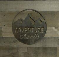 Adventure Awaits Round Metal Sign, Industrial, Farmhouse Decor, Cabin Wall Art