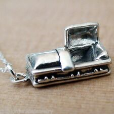 Casket Charm Necklace - 925 Sterling Silver 3D Coffin Mortician Gothic Halloween
