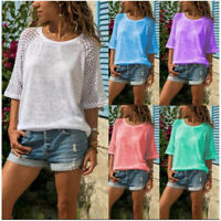 Summer Womens Casual Lace 3/4 Sleeve T Shirt Crew Neck Tops Solid Loose Blouse