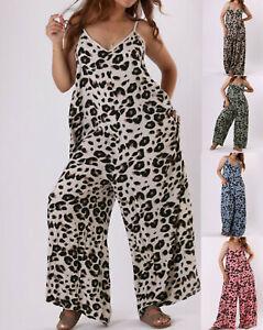Ladies Leopard Print Jumpsuit Womens Oversized Romper Playsuit Harem Plus Size