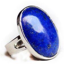Handmade Oval Shaped Huge Blue Lapis Lazuli Gemstone Silver Adjustable Rings