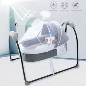 Portable Electric Bluetooth Baby Cradle Swing Bassinet Rocking Crib Infant Bed