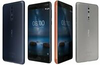 NOKIA 8 64GB - Unlocked - STEEL / BLUE / COPPER - Android Mobile Smartphone