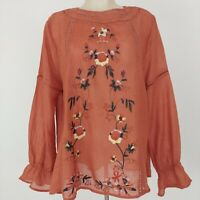 Umgee Boho Embroidered Blouse Sz L Rust Multi Semi-Sheer Crochet Lace Keyhole