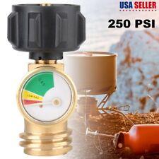 Propane LP Tank Gauge Gas Grill BBQ RV Pressure Adapter Meter Indicator Brass US