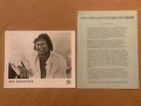 Kris Kristofferson 1978 ORIGINAL Columbia Records 4 Page Bio & 8x10 Press Photo
