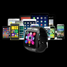Bluetooth Smart Sport Pedometer Watch Q18 for Android Samsung SIM Card Black