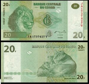 💵 2003 CONGO 20 FRANC P 94 UNC - 1 note