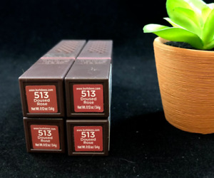 x4 Burt's Bees # 513 DOUSED ROSE 100% Natural Lipstick (PACK OF 4)