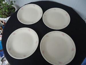 4 corelle corning ware  english breakfast rose dinner plates