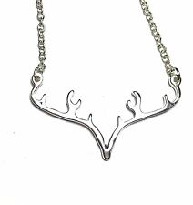 Antler Deer Horn Silver Pendant Charm Necklace NEW
