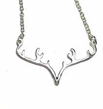 Antler Deer Horn Silver Pendant Charm Necklace NEW