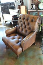 """38"""" W Arm chair antiqued buffalo soft leather light brown tufted birch wood fram"""