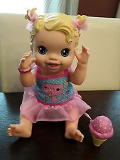 BABY ALIVE 2012 Hasbro Yummy Treats Doll Licks Ice Cream Cone Blonde Blue Eyes