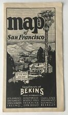 Vintage ca 1930s Bekins Van & Storage Co. Map of San Francisco city street map