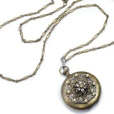 NEW SWEET ROMANCE VICTORIAN STYLE FLOWER WATCH LOCKET NECKLACE ~~MADE IN USA~~