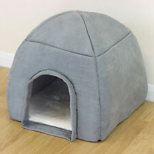 Soft Grey Warm Igloo Bed For Pet Cat/Kitten Dog/Puppy Plush Cave/House/Mat/Snug