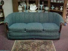 VINTAGE 1940's 1950's CURVED CHANNEL BACK SOFA CHAIR SET SCULPTURED BLUE NYLON