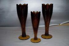 "Tiara Indiana Glass Burnt Honey Amber  Ribbon Vases ~3~ ..2 -10""..1 - 8"" PERFECT"