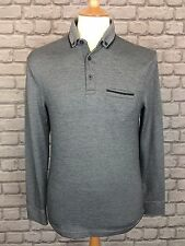 BNWOT Burton Menswear London Para Hombre Uk S Gris Manga Larga Polo Top