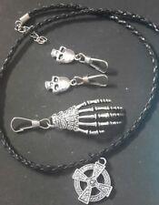 skeleton hand zip pull pluss 1 necklace and two skull zip pulls #27
