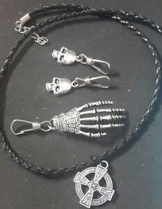 skeleton hand zip pull set pluss 1 necklace and two skull zip pulls #27