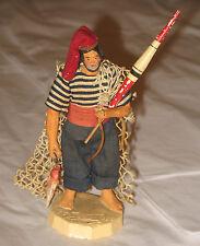 Vintage Figurine Aix Devouassoux France Fisherman Fishing Clay Figure