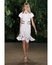 ALTUZARRA White Wave Techno Jersey Dress with Inserted Silk HemSz:38 NEW