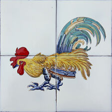Portuguese Hand Painted Clay Tiles Azulejos Painel Mural TRADITIONAL ROOSTER