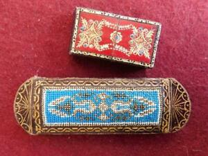 Fine Embossed Leather & Petit Point Sewing Needle Cases 1900s