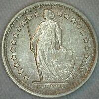 1967 B Switzerland 1/2 Franc Coin Silver Half Franc Uncirculated