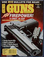 Vintage Magazine *GUNS* September 1991 !!! PARA-ORDNANCE Model P14-45 PISTOL !!!