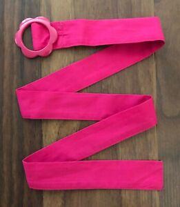 "Gymboree Smart & and Sweet Flower Belt Hot Pink 33.5"" Buckle Girls 8 9 10 12"