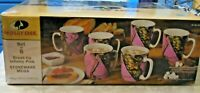 Mossy Oak Stoneware Mug Set Coffee Cup Pink Nature Mugs  6 Pc.  15.8 oz. Each