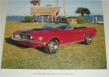 1968 1/2  Ford Mustang GT 428 Cobra Jet Convertible car print (red, no top)