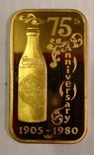 1 TO INGOT BAR COCA COLA LOUISA KENTUCKY GOLD PLATE 75TH ANN COKE NEW FIND RARE!