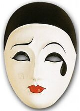 Pierrot Face Mask Large Pierette Masquerade Mime Clown Halloween Fancy Dress