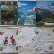 3 unused Vintage embroidered handkerchief gift box cotton. alba Made in Swiss